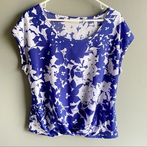 3/$20 NY & Co. Floral Twist Front Cap Sleeve Top